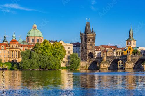 Photo sur Aluminium Prague Prague city skyline and Charles Bridge - Prague - Czech Republic