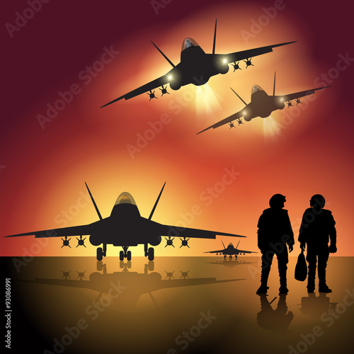 Military jet on the runway Wallpaper Mural