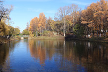 Leaf Fall In Autumn Park Landscape
