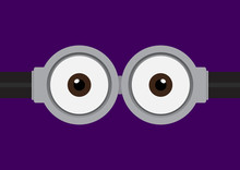 Vector Illustration Of Goggle With Two Eye On Purple Color