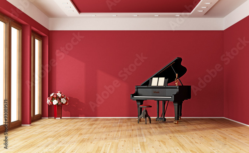Fotografie, Obraz  Red room with grand piano