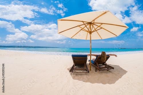 Deurstickers Strand Woman on the beach in Kuta Bali