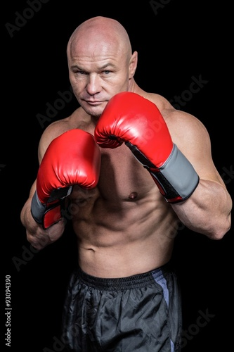 Foto  Portrait of boxer with gloves