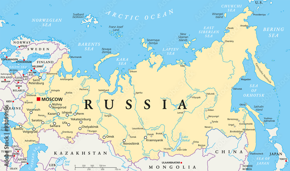 Fototapety, obrazy: Russia political map with capital Moscow, national borders, important cities, rivers and lakes. English labeling and scaling. Illustration.