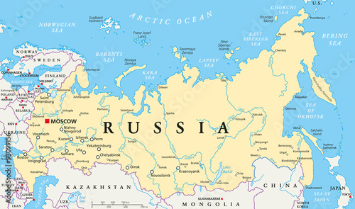 Fotografie, Tablou Russia political map with capital Moscow, national borders, important cities, rivers and lakes