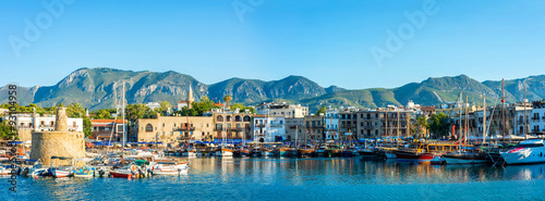 Photo sur Aluminium Chypre Panorama of Kyrenia harbour. Kyrenia (Girne), Cyprus