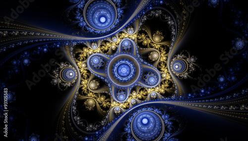 Fotobehang Fractal waves 3d abstract fractal illustration background for creative design