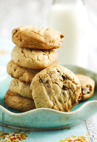 Papiers peints Biscuit Peanut butter cookies with chocolate chips