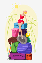 Vector Illustration Of A Girl Sitting On A Mountain Of Luggage. She Lifted Her Face To The Sun, Palm Trees Around It, The Airplane Is Flying In The Sky. Bright Colors