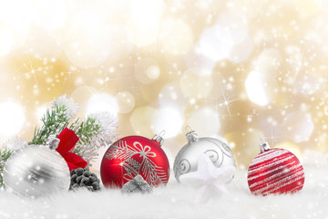 Decorative christmas background with snow.