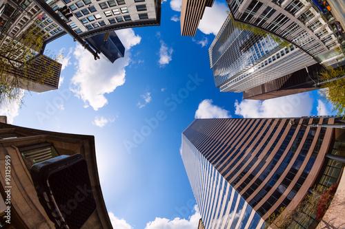 Fotografie, Obraz  Fisheye view of skyscrapers in Seattle, USA