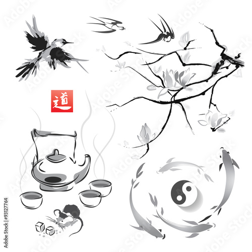 Fotografie, Obraz  Set in a Japanese style of sumi-e