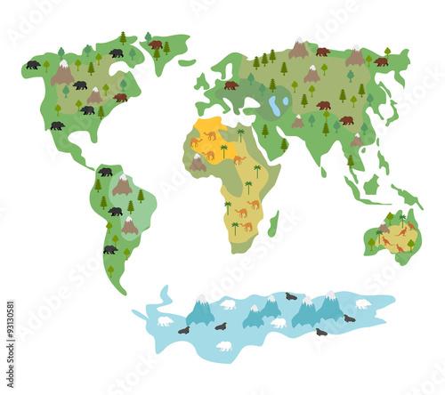 mapa-swiata-ze-zwierzetami-i-drzewami