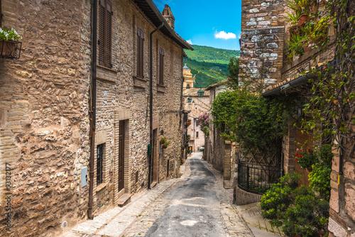 Keuken foto achterwand Smal steegje Full color beautiful streets in Umbria, Italy