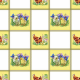 Little fluffy cute watercolor ducklings, chickens and hares with - 93144972
