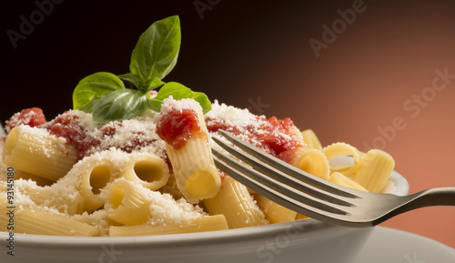 dish with macaroni and tomato sauce Canvas Print