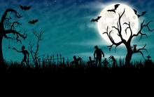 Halloween Night Wallpaper With Zombies And Full Moon