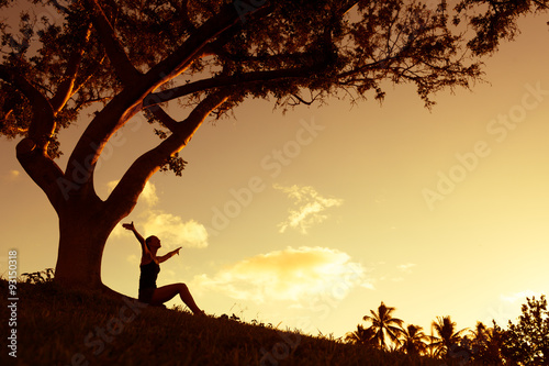 Fotografie, Tablou  Silhouette of woman with hands raised into the sunset