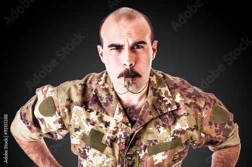Fotografie, Obraz  Drill Sergeant with whistle