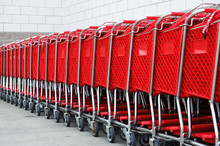 Red Shopping Cart In A Row