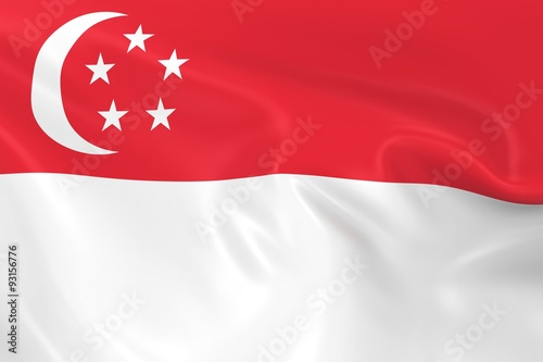 Photo  Waving Flag of Singapore - 3D Render of the Singaporean Flag with Silky Texture