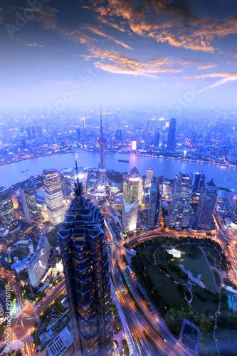 Foto op Aluminium Shanghai Morning, Shanghai Bund buildings