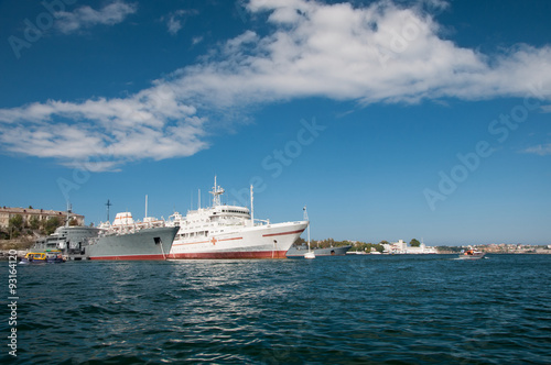 City on the water Anchored navy ships, southern bay of Sevastopol, Crimea