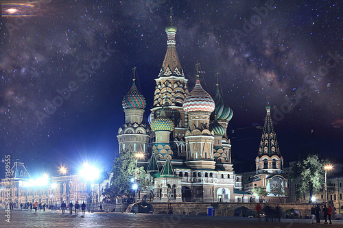 Tuinposter Moskou winter night landscape in the center of Moscow