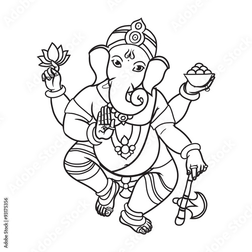 Photo  Cartoon vector elephant head God Ganesha