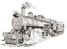 Steam Locomotive Illustration In Vintage Style
