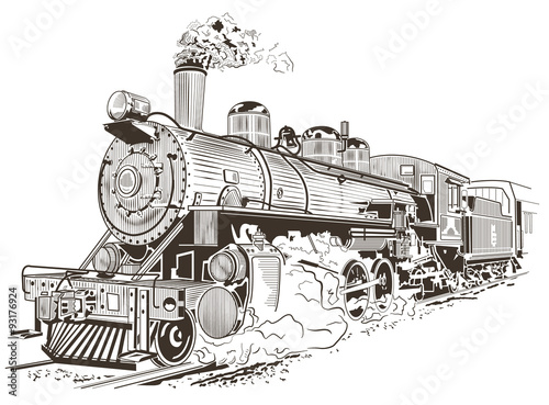 Fotomural steam locomotive illustration in vintage style