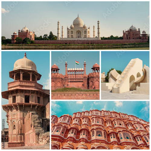 Collage of  Indian landmarks Poster