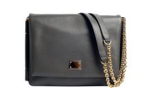 Dark Gray Luxury Female Handbag Isolated With Golden Chain Handl