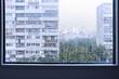 Rainy window, urban view