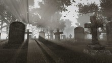 Old Gravestones At Last Sunset Rays. Monochrome