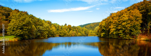 Aluminium Prints Autumn Lake in the autumn forest with reflection.