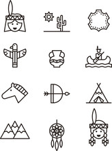 Set Of Native Americans Outline Icons