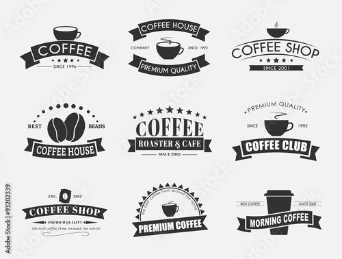 Zestaw logo kawy ze wstążkami