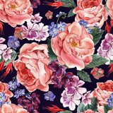 Floral Vintage Seamless Pattern, watercolor illustration. - 93210522
