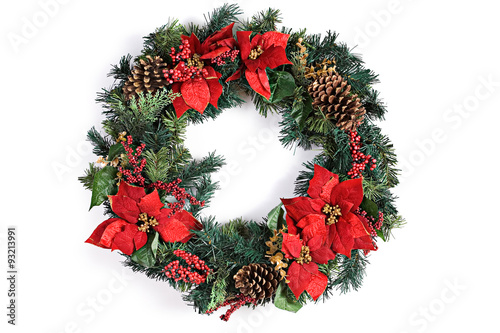 Photo  Christmas Holiday Wreath Isolated On White
