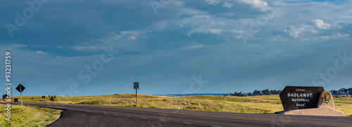 Badlands National Park Sign Road and a Fee Booth Panorama Canvas Print