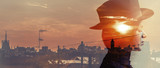 Double exposure of girl wearing hat and city sunset letterbox - 93233540