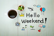 canvas print picture - Hello Weekend message with a cup of coffee