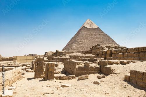 In de dag Egypte pyramids of Giza in Cairo, Egypt.