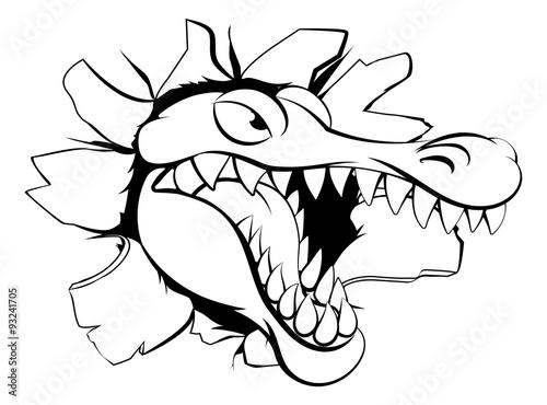 In de dag Cartoon draw Alligator or crocodile breaking through background