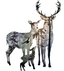 Panel Szklany Eko deer family