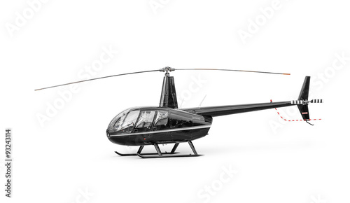 Poster Helicopter Light passenger helicopter isolated on a white background. Clipping path included.