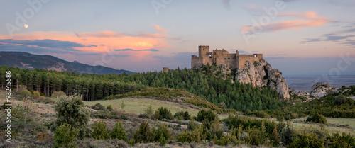 Montage in der Fensternische Rosa dunkel Medieval castle of Loarre,Aragon, Spain
