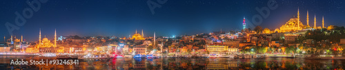 Panorama os Istanbul and Bosporus at night Wallpaper Mural