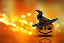 3D Halloween Pumpkin On A Bokeh Lights Background